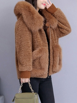 Hoodie Paneled Fluffy Solid Fur And Shearling Coats_6