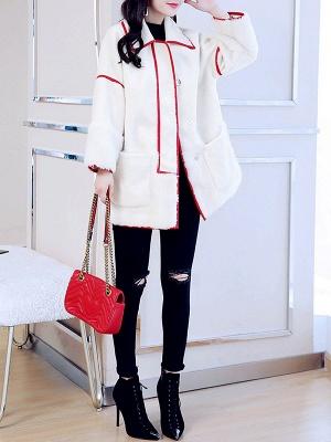 White Long Sleeve Shirt Collar Fur And Shearling Coats_5
