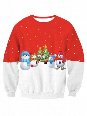 Red and White Snowman Christmas Tree Printed Long Sleeves Sweatshirts for Women_1