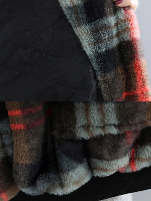 Long Sleeve Checkered/plaid Fur And Shearling Coats_9