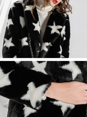 Black Buttoned Casual Graphic Shift Fur and Shearling Coat_5