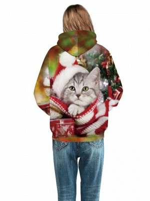 Plus Size Couple Hoodies Fashion Ugly Christmas Cat Printed Hooded Clothes for Women/Men_5