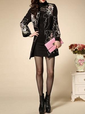 Black Wool Crew Neck Long Sleeve Floral Coat_4