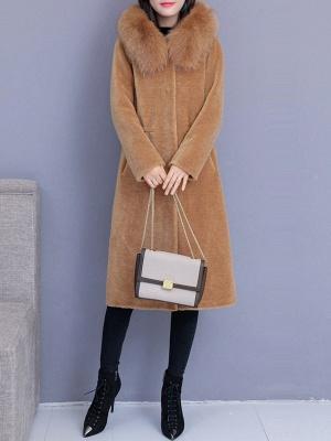 Hoodie Shift Pockets Long Sleeve Fur And Shearling Coats_6