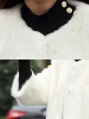 Casual Shift Long Sleeve Fur And Shearling Coats_9