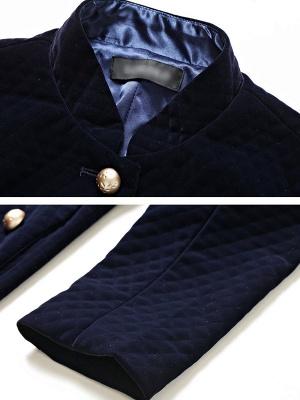 Navy Blue Elegant Stand Collar Velvet Coat_5