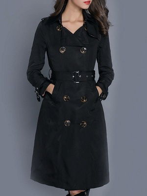 Long Sleeve Pockets Casual Buttoned Coat_3