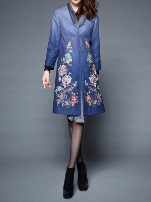 Blue Casual Paneled Shift Floral Coat_4