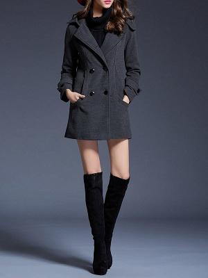 Gray Casual Long Sleeve Hoodie Coat_4