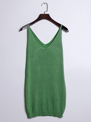 Sleeveless Deep V-neck Silver Wire Knit Harness Vest Tank Top_7