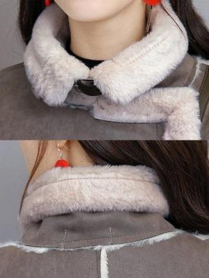 Paneled Long Sleeve Shift Fur And Shearling Coats_7