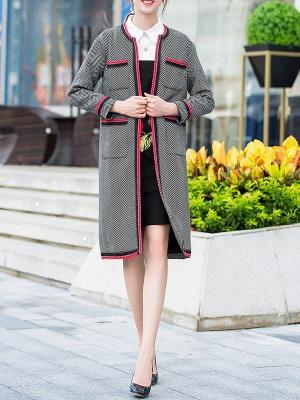 Gray Casual Long Sleeve Paneled Coat_4