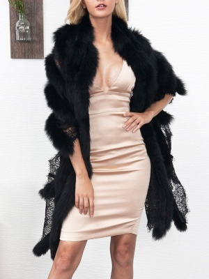 Guipure lace Paneled Fluffy Fur and Shearling Coat_7
