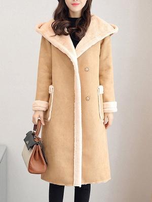 Hoodie Long Sleeve Casual Fur And Shearling Coats_2
