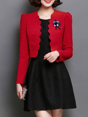 Bow Casual Solid Long Sleeve Flowers Coat_6
