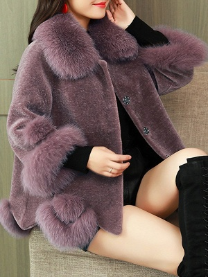 Buttoned Fluffy Shift Paneled Fur And Shearling Coats_2
