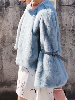 Fluffy Crew Neck Casual Fur And Shearling Coats_9