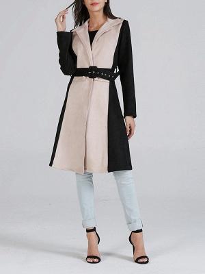 Black Solid Long Sleeve Color-block Coat_4