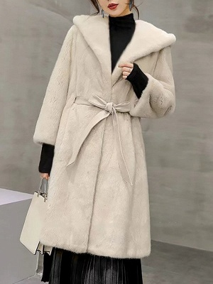 Solid Shift Long Sleeve Bow Casual Fur and Shearling Coat_1