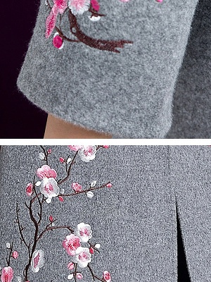 Long Sleeve Floral-embroidered Casual Floral Coat_7