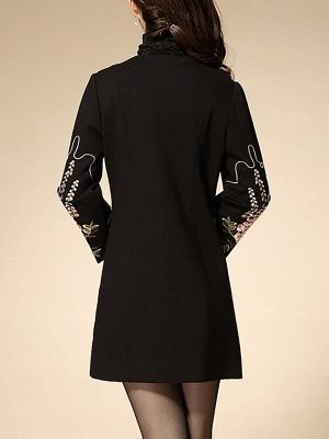Black Wool Crew Neck Long Sleeve Floral Coat_3