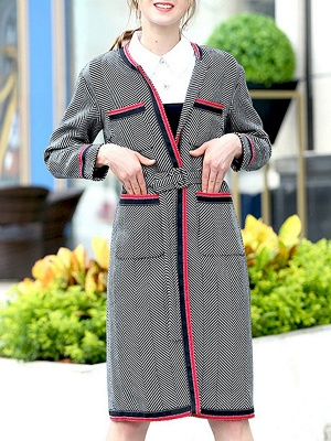 Gray Casual Long Sleeve Paneled Coat_1