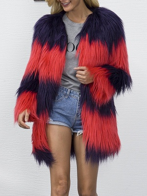 Casual Solid Color-block Fluffy Fur and Shearling Coat_2