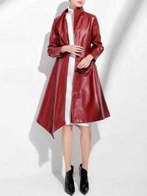 Leather Work Bow Long Sleeve Asymmetrical Coat_6