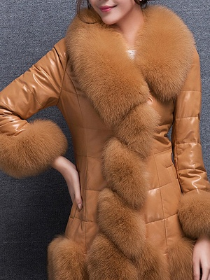 Fluffy Pockets Buttoned A-line Fur and Shearling Coat_11