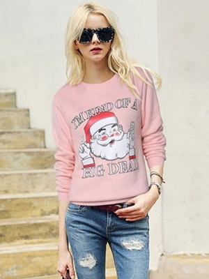 Plus Size Funny Christmas Sweatshirts Letter Santa Claus Printed Cute Thick Fleece Loose Sweats Womens_5