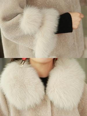 Paneled Shawl Collar Long Sleeve Fur And Shearling Coats_10