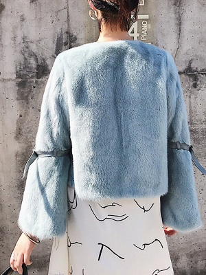 Fluffy Crew Neck Casual Fur And Shearling Coats_5