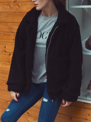 Long Sleeve Solid Casual Zipper Fur and Shearling Coat_3