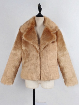 Yellow Brown Long Sleeve Casual Fluffy Fur And Shearling Coats - StyleWe.com_6