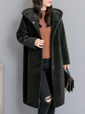Buttoned Long Sleeve Hoodie Fur And Shearling Coats_3