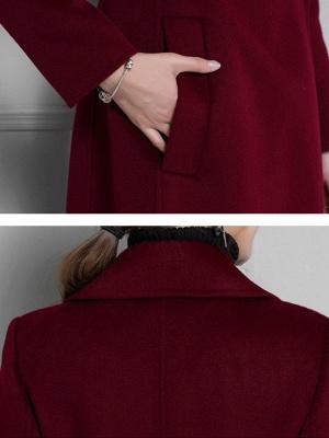 Lapel Solid A-line Buttoned Pockets Coat_9