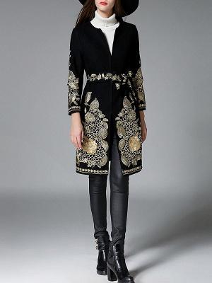 Black Long Sleeve V-Neck Floral-embroidered Coat_4