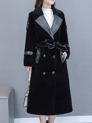 Solid Paneled Long Sleeve Fur And Shearling Coats_3