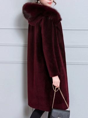 Long Sleeve Pockets Hoodie Shift Casual Fluffy  Coat_7