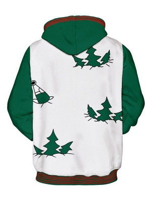Plus Size Couple Hoodies Funny Christmas Cartoon Santa Claus Printed Loose Jumper Hooded Clothes for Men/Women - WSDear._3