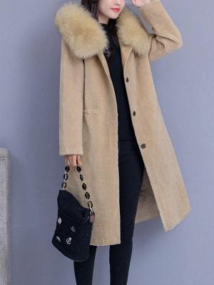 Hoodie Shift Pockets Long Sleeve Fur And Shearling Coats_4