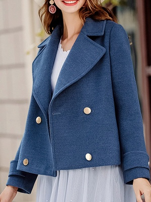 Long Sleeve Shift Casual Solid Lapel Buttoned Pockets Coat_6