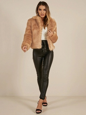 Yellow Brown Long Sleeve Casual Fluffy Fur And Shearling Coats - StyleWe.com_5