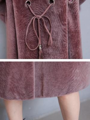 Casual Long Sleeve Hoodie Fur and Shearling Coat_9