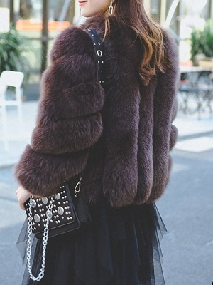 Casual Long Sleeve Shift Crew Neck Fur and Shearling Coat_4