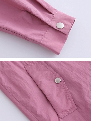 Pink Long Sleeve Stand Collar Coat_6