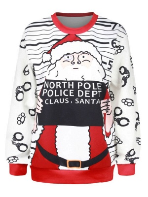 White Santa Claus Letter Printed Stripes Long Sleeves Christmas Sweatshirt_7