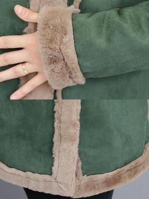 Paneled Zipper Lapel Casual Fur And Shearling Coats_8