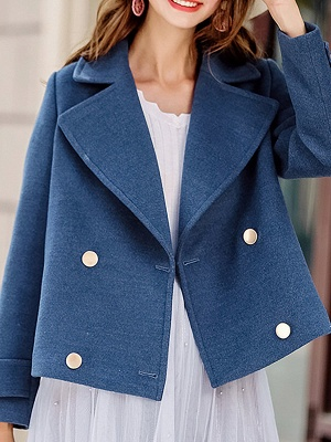 Long Sleeve Shift Casual Solid Lapel Buttoned Pockets Coat_2