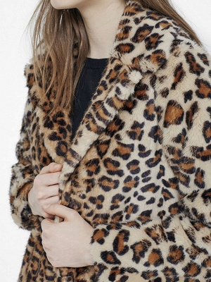 Brown Leopard Print Long Sleeve Fur And Shearling Coats_5